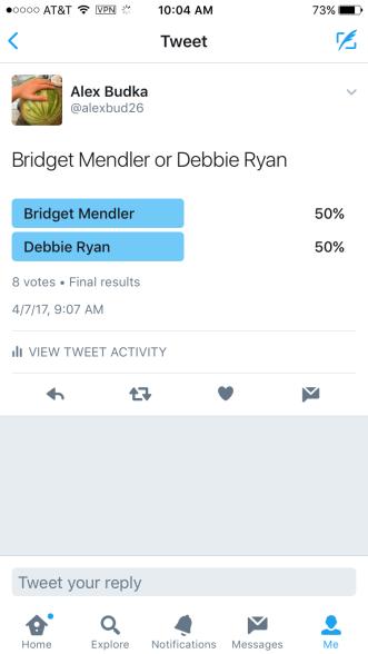 twitter poll deb v brig